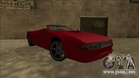 Cheetah Cabrio para GTA San Andreas vista posterior izquierda