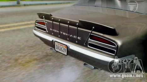 GTA 5 Imponte Nightshade IVF para GTA San Andreas vista hacia atrás