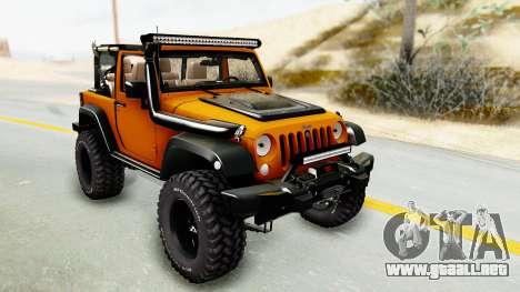 Jeep Wrangler Off Road para GTA San Andreas vista hacia atrás