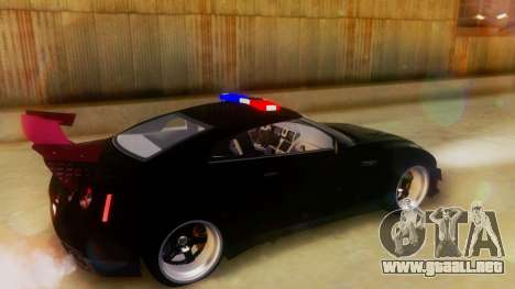 Nissan GT-R Police Rocket Bunny para GTA San Andreas vista posterior izquierda