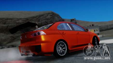 Mitsubishi Lancer Evolution X Tunable New PJ para GTA San Andreas vista hacia atrás