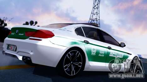 BMW M6 F13 Gran Coupe 2014 Dubai Police para GTA San Andreas left