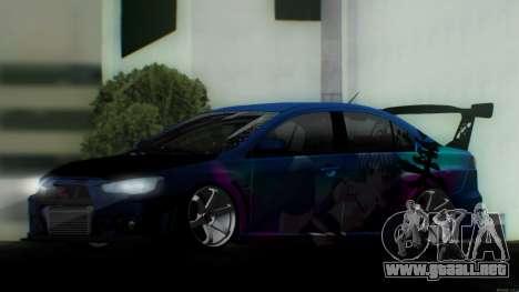 Mitsubishi Lancer X by Venceslav Sexy para la visión correcta GTA San Andreas
