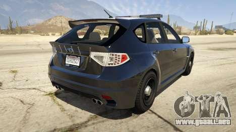 GTA 5 LAPD Subaru Impreza WRX STI vista lateral izquierda trasera