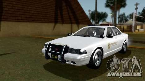 GTA 5 Vapid Stanier II Sheriff Cruiser IVF para GTA San Andreas