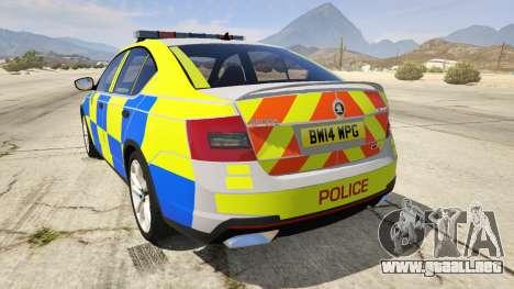 GTA 5 2014 Police Skoda Octavia VRS Hatchback vista lateral izquierda trasera