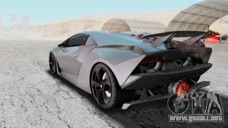 Lamborghini Sesto Elemento 2010 para GTA San Andreas vista posterior izquierda