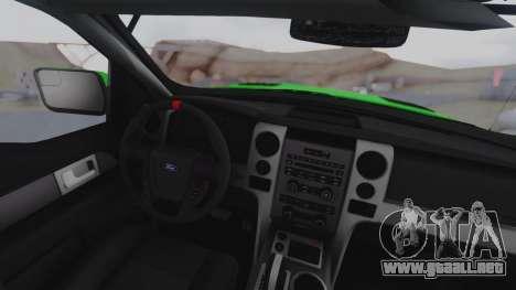 Ford F-150 SVT Raptor 2012 para la visión correcta GTA San Andreas