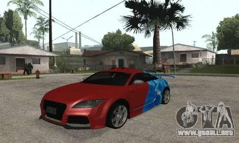 Audi TT-RS Tunable para GTA San Andreas vista posterior izquierda