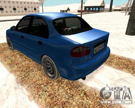 Daewoo Lanos 2001 Winter para GTA San Andreas vista posterior izquierda