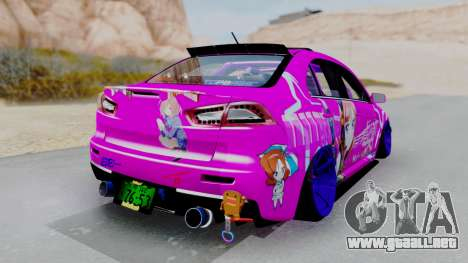 Mitsubishi Lancer Evolution X Hellaflush para GTA San Andreas left