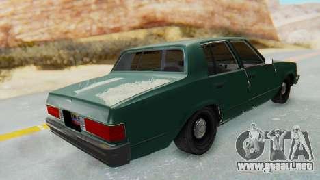 Chevrolet Malibu 1981 Twin Turbo para GTA San Andreas vista posterior izquierda