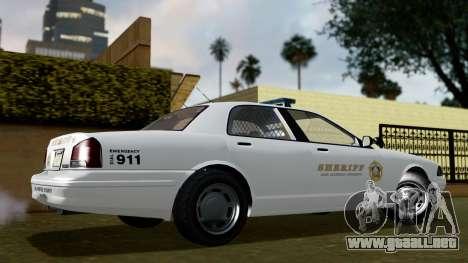 GTA 5 Vapid Stanier II Sheriff Cruiser IVF para GTA San Andreas vista posterior izquierda