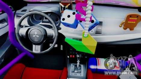 Mitsubishi Lancer Evolution X Hellaflush para GTA San Andreas vista hacia atrás