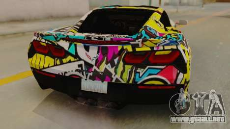 Chevrolet Corvette Stingray C7 2014 Sticker Bomb para GTA San Andreas vista hacia atrás