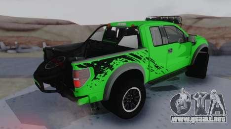 Ford F-150 SVT Raptor 2012 para GTA San Andreas vista posterior izquierda