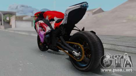 Kawasaki Ninja FI Custom Rias Gremory Itasha para GTA San Andreas vista posterior izquierda