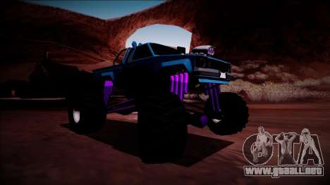 GTA 5 Karin Rebel Monster Truck para GTA San Andreas vista posterior izquierda