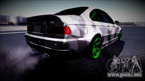 BMW M3 E46 Drift Monster Energy para GTA San Andreas vista posterior izquierda