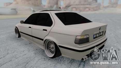 BMW 3-er E36 para GTA San Andreas vista posterior izquierda