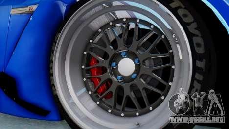 Nissan GT-R R35 Rocket Bunny para GTA San Andreas vista hacia atrás