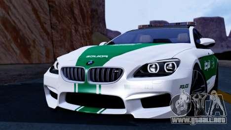 BMW M6 F13 Gran Coupe 2014 Dubai Police para GTA San Andreas vista posterior izquierda