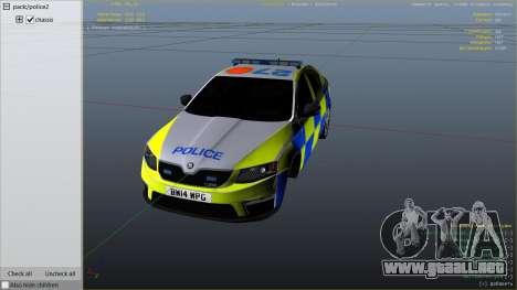 GTA 5 2014 Police Skoda Octavia VRS Hatchback vista lateral derecha