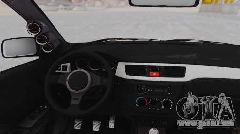 Mitsubishi Lancer Evo IX MR Tobiichi Origami para GTA San Andreas vista hacia atrás