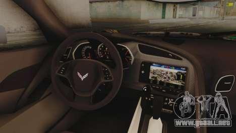 Chevrolet Corvette Stingray C7 2014 Sticker Bomb para la visión correcta GTA San Andreas