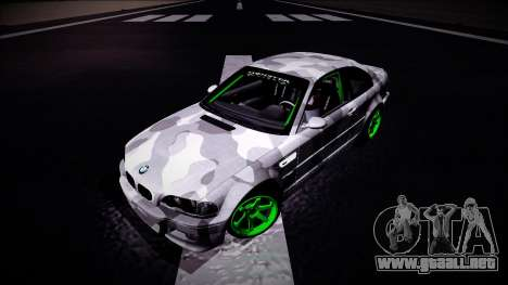 BMW M3 E46 Drift Monster Energy para GTA San Andreas vista hacia atrás