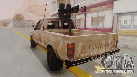 Volkswagen Caddy Military Vehicle para GTA San Andreas vista posterior izquierda