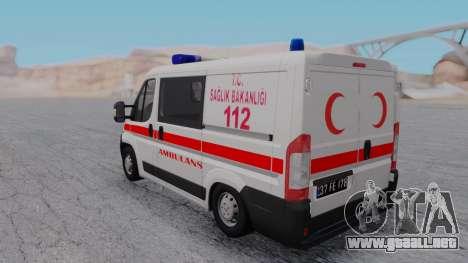Fiat Ducato Turkish Ambulance para la visión correcta GTA San Andreas