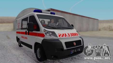 Fiat Ducato Turkish Ambulance para GTA San Andreas vista posterior izquierda