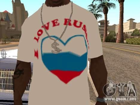 T-shirt amo Rusia para GTA San Andreas segunda pantalla