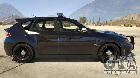 GTA 5 LAPD Subaru Impreza WRX STI vista lateral izquierda