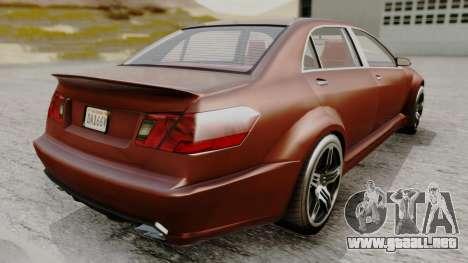 GTA 5 Benefactor Schafter LWB para GTA San Andreas vista posterior izquierda