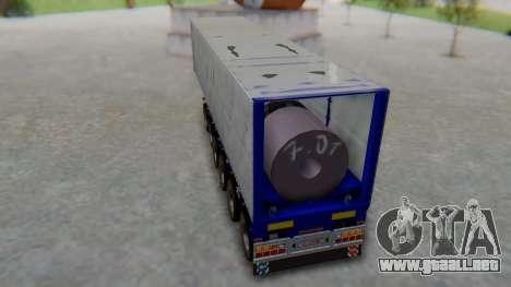 Trailer Colis Blue para GTA San Andreas vista posterior izquierda