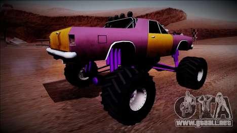 Picador Monster Truck para GTA San Andreas vista posterior izquierda