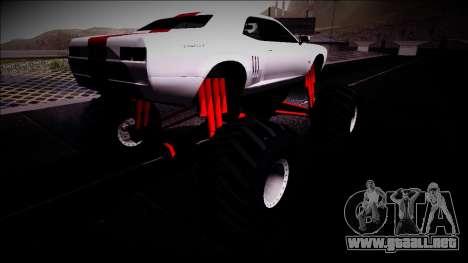 GTA 5 Bravado Gauntlet Monster Truck para GTA San Andreas vista posterior izquierda