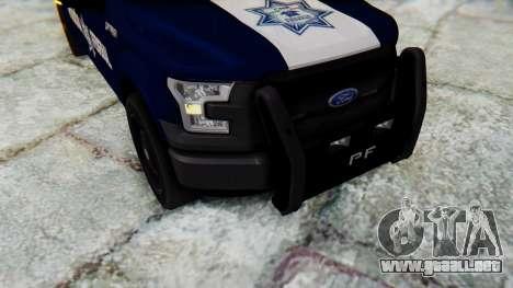 Ford F-150 2015 Policia Federal para GTA San Andreas vista hacia atrás