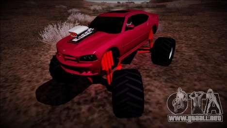 2006 Dodge Charger SRT8 Monster Truck para GTA San Andreas vista posterior izquierda