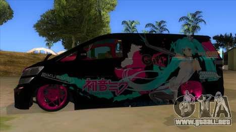 Toyota Vellfire Miku Pocky Exhaust v2 FIX para GTA San Andreas left