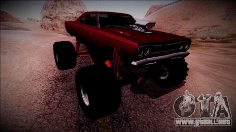 1969 Plymouth Road Runner Monster Truck para vista inferior GTA San Andreas