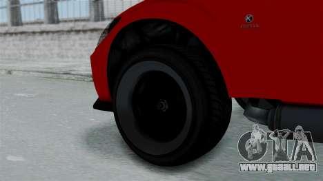 GTA 5 Karin Sultan RS Stock PJ para GTA San Andreas vista posterior izquierda