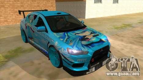 Mitsubishi Lancer Evolution X Koi-chan Itasha para GTA San Andreas vista hacia atrás