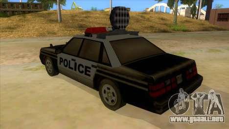 Police Car from Manhunt 2 para GTA San Andreas vista posterior izquierda