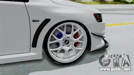 Mitsubishi Lancer Evolution X GSR Full Tunable para GTA San Andreas vista posterior izquierda