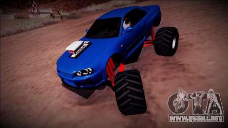 Nissan Skyline R34 Monster Truck para GTA San Andreas vista hacia atrás