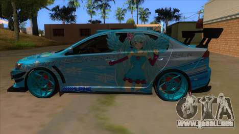 Mitsubishi Lancer Evolution X Koi-chan Itasha para GTA San Andreas left
