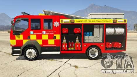 GTA 5 DAF Lancashire Fire & Rescue Fire Appliance vista lateral izquierda